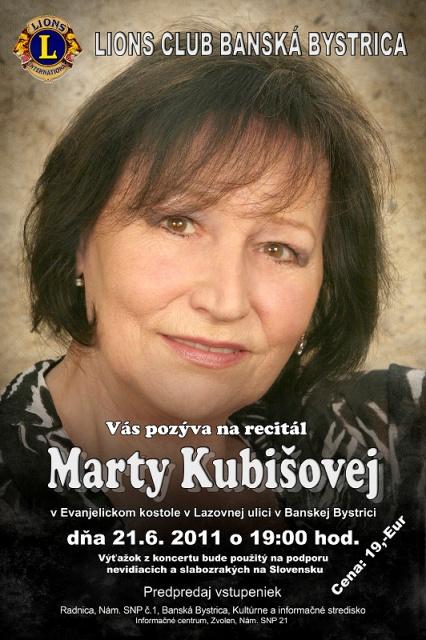 Plagát - recitál Marty Kubišovej