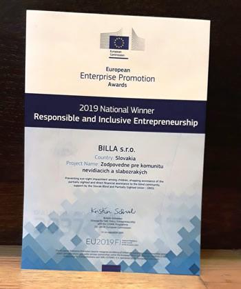 Diplom pre národného víťaza v kategórii Zodpovedné podnikanie