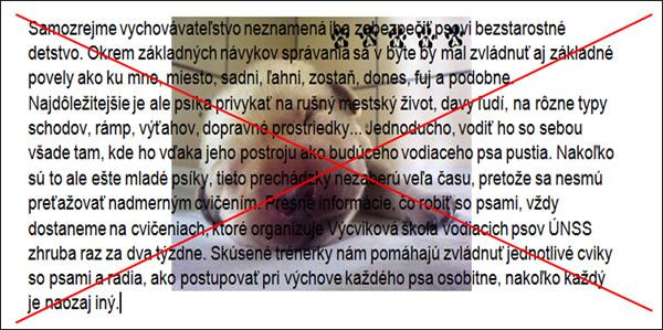 Príklad nevhodného použitia písma cez obrázok