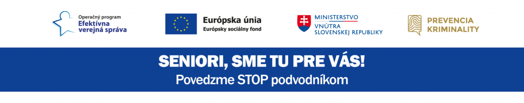 Na obrázku sú logá spolupracujúcich organizácii - Efektívna verejná správa, EÚ, Min. vnútra SR a Prevencia kriminality.