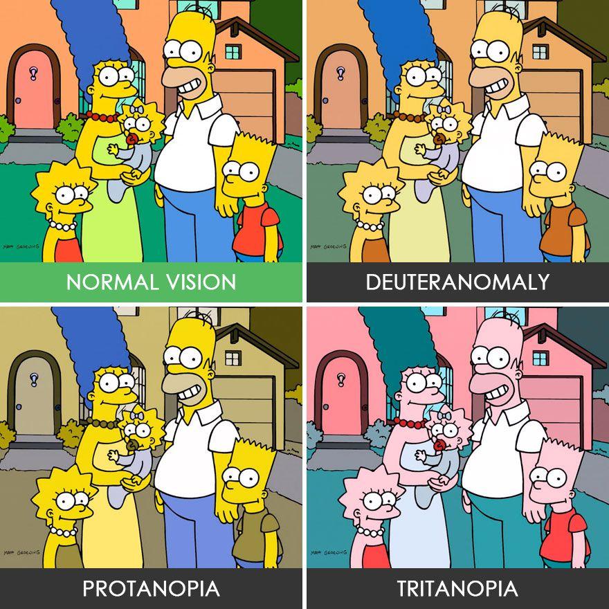 Ilustrácie z obľúbeného seriálu Sympsonovci. Na štvorci je ten istý obrázok vyobrazený štyrikrát a vždy v iných farbách. Podľa toho, ako to vidia ľudia s rôznymi problémami farbocitu.