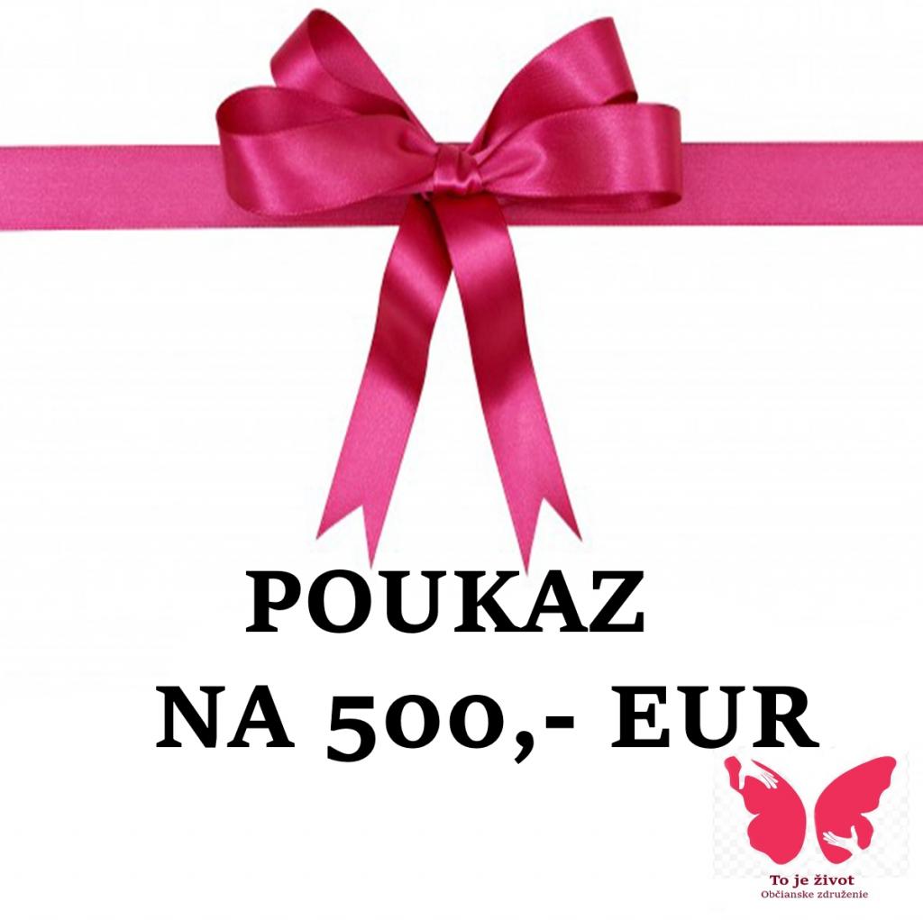 Obr. poukazu na 500 eur ozdobený veľkou ružovou mašľou.