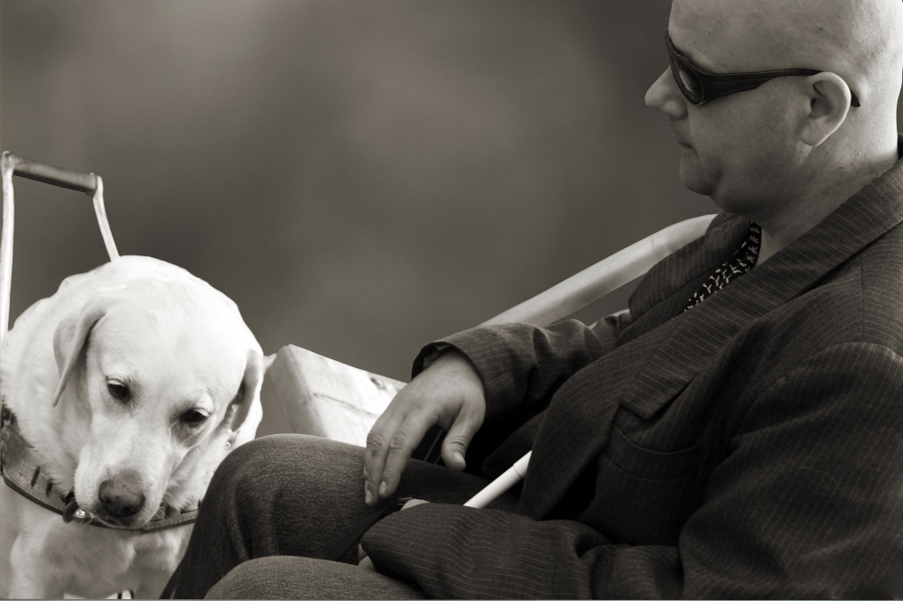 Na ČB fotografii je zachytený muž sediaci na lavičke a pri nohách má vodiaceho psa.