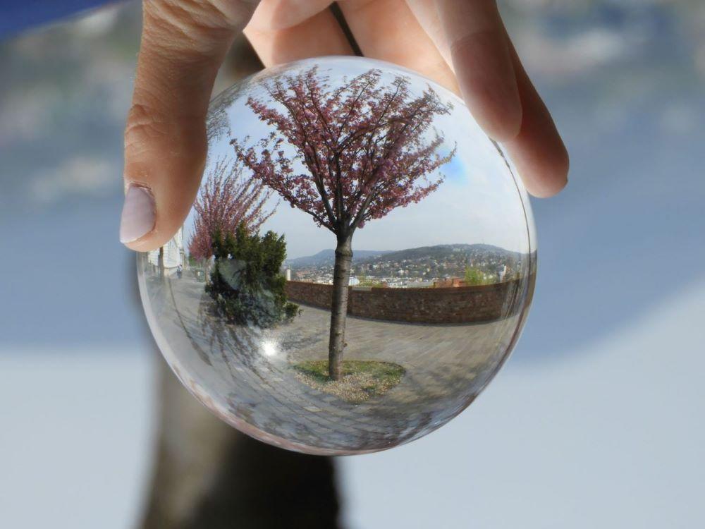 Ruka drží priesvitnú guľu, v ktorej sa odráža okolitý svet - zakvitnuté čerešne na chodníku a v diaľke výhľad na krajinu.