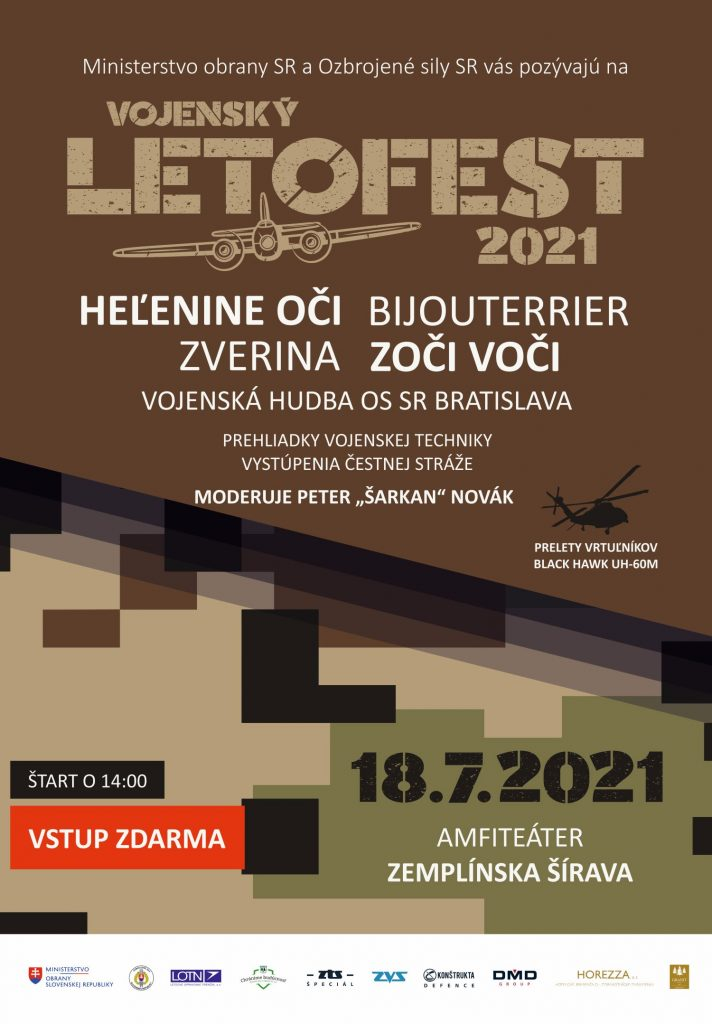 """Plagát festifalu, v grafike je napísané, že vystúpia Heľenine oči, Zverina, Zoči voči, Vojenská hudba, dátum a miesto konania, moderátor P. """"Šarkan"""" Novák"""
